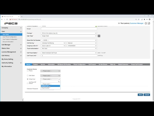 How to create a user on iPECS cloud