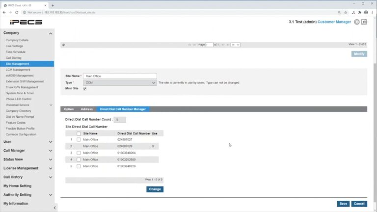 How to manage sites on ipecs cloud