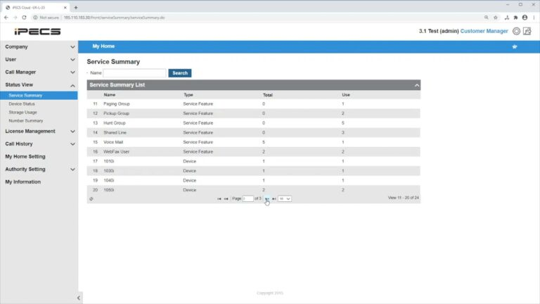 Overview of the Status View on IPECS Cloud